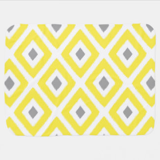 Yellow Grey Ikat Diamond Pattern Baby Blanket