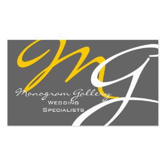 Yellow Grey Modern Monogram Business Card Template