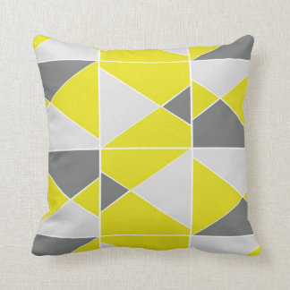 Yellow Grey Pattern - Throw Pillow