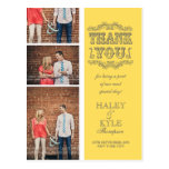 Yellow & Grey Photo Wedding Thank You Post Card