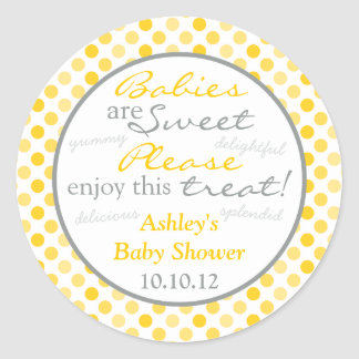 Yellow Grey Polka Dot Candy Buffet Baby Shower Round Sticker