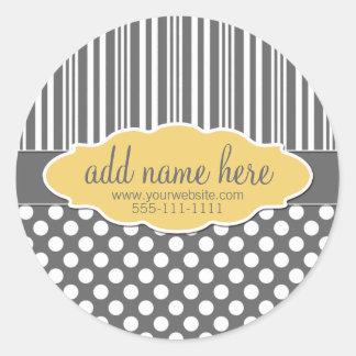 Yellow & Grey Product Label Round Sticker