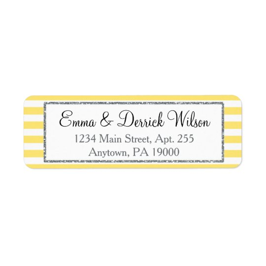 Yellow Grey Return Address Labels Elegant Shower