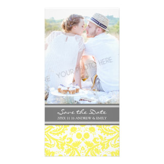 Yellow Grey Save the Date Wedding Photo Cards