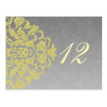 """yellow grey""  table numbers postcards"