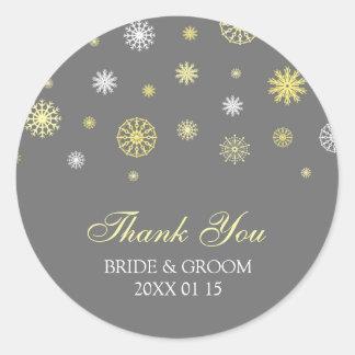 Yellow Grey Thank You Winter Wedding Favor Tags Round Sticker