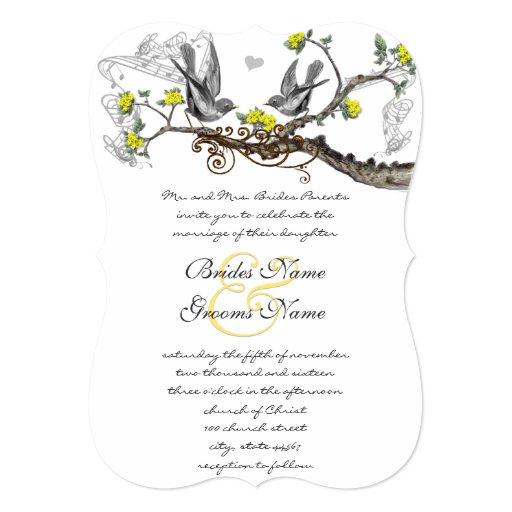 Yellow & Grey Vintage Birds Wedding Invite 13 Cm X 18 Cm Invitation Card