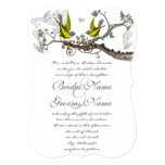 Yellow & Grey Vintage Birds Wedding Invite 13cm X 18cm Invitation Card