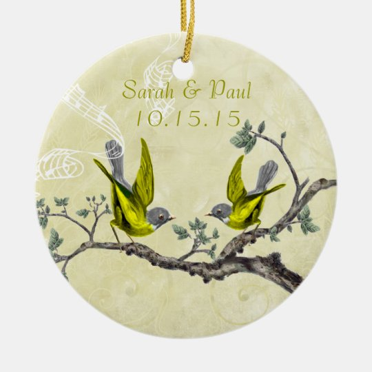 Yellow Grey Vintage Love Birds Christmas Ornament