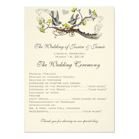 Yellow & Grey Vintage Love Birds Wedding Invite