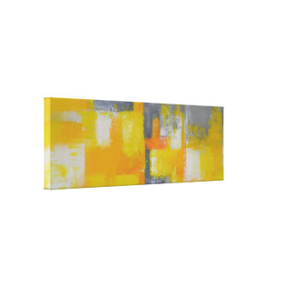 yellow grey white abstract art painting canvas print