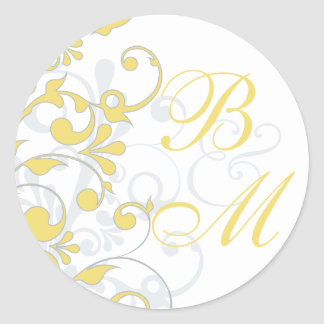 Yellow, Grey, White Abstract Floral Envelope Seal Round Sticker