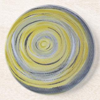 yellow grey white circles coaster