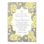 Yellow Grey White Floral Damask Wedding Invitation