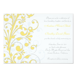 Yellow, Grey White Floral Wedding Invitation