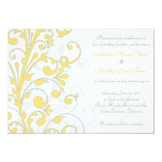 Yellow, Grey White Floral Wedding Invitation