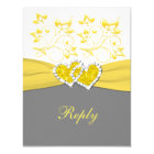 Yellow, Grey, White Joined Hearts Reply Card
