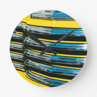 Yellow Grill Round Clock