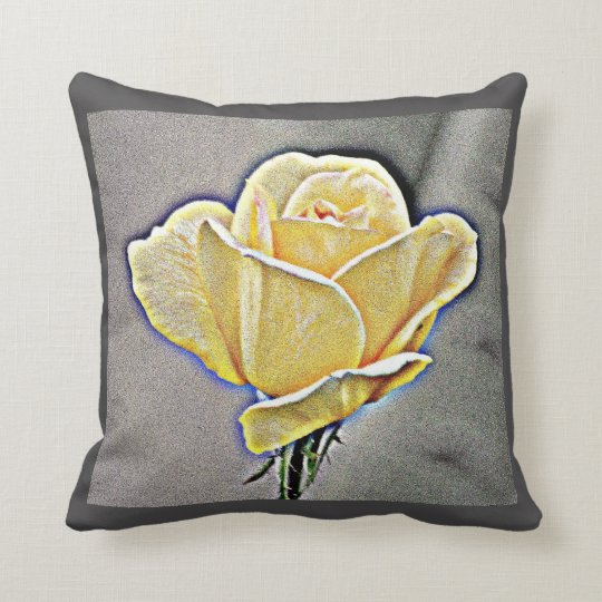 Yellow Gritty Rose Custom Pillow