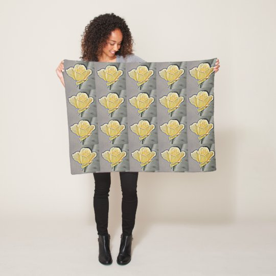 Yellow Gritty Rose Fleece Blanket
