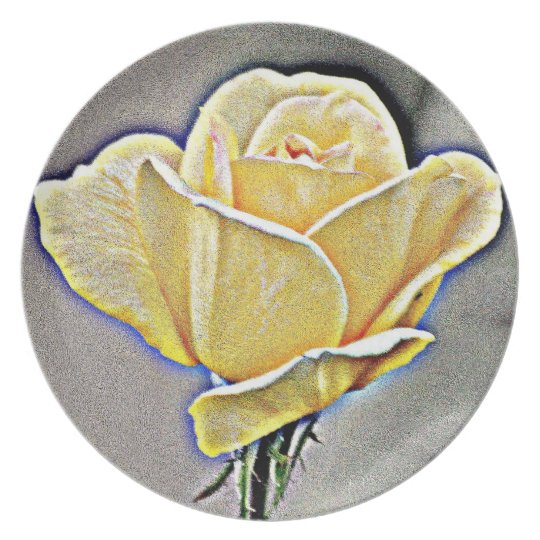 Yellow Gritty Rose Melamine Plate