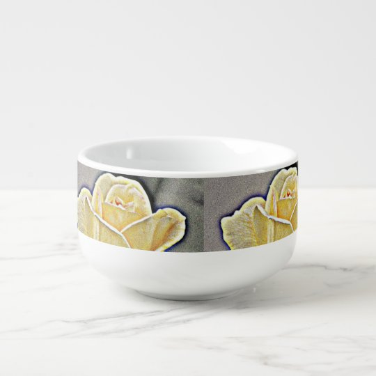 Yellow Gritty Rose Soup Mug