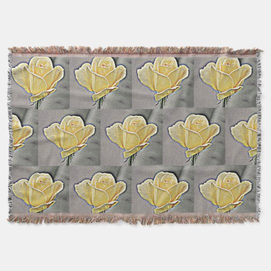 Yellow Gritty Rose Throw Blanket
