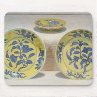 Yellow ground dishes painted in underglaze mouse pad