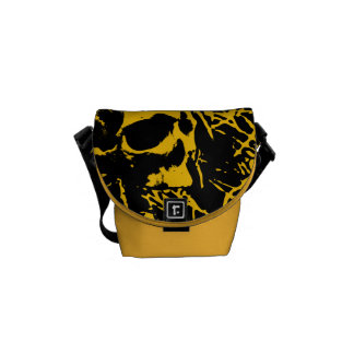 Yellow Grunge Skulls Courier Bags