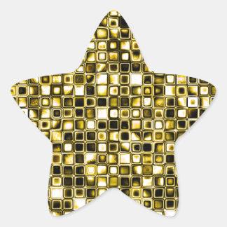 Yellow Grunge Textured Grid Pattern Star Sticker