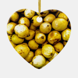 Yellow Guava Ceramic Heart Decoration