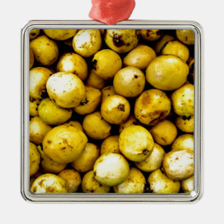 Yellow Guava Silver-Colored Square Decoration