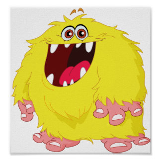 Yellow Hairy Monster Poster
