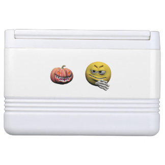 Yellow halloween emoticon or smiley cooler