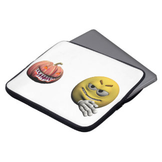 Yellow halloween emoticon or smiley laptop sleeve