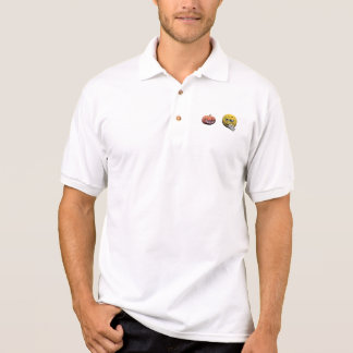 Yellow halloween emoticon or smiley polo shirt