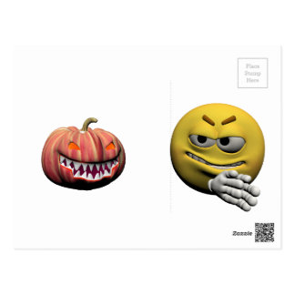 Yellow halloween emoticon or smiley postcard