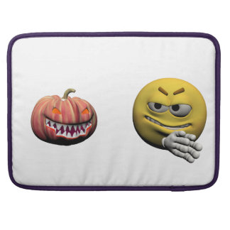 Yellow halloween emoticon or smiley sleeve for MacBook pro