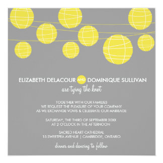 "Yellow Hanging Paper Lanterns Wedding Invitation 5.25"" Square Invitation Card"