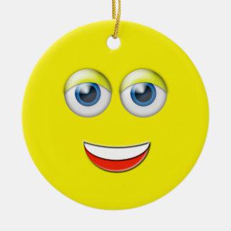 Yellow Happy Face Emoji Custom Name Ceramic Ornament