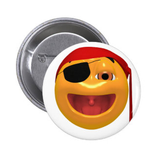 Yellow happy pirate wearing a eye patch 6 cm round badge