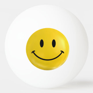 Yellow Happy Smiley Ping Pong Ball