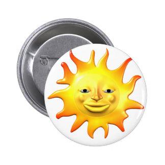 Yellow happy sun smiley face 6 cm round badge