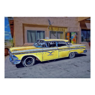 Yellow Havana Taxi Poster