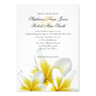 Yellow Hawaiian Plumeria Frangipani Wedding 13 Cm X 18 Cm Invitation Card