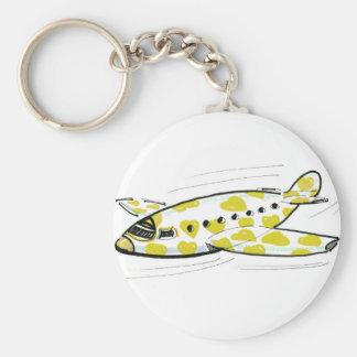 Yellow Heart Aeroplane Keychain Keyring