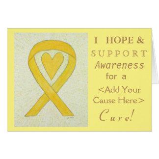 Yellow Heart Awareness Ribbon Custom Note Cards