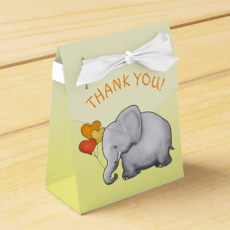 Yellow Heart Balloons Elephant Neutral Baby Shower Favour Box
