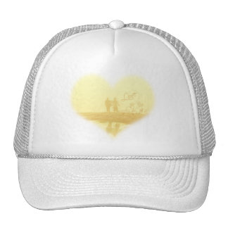 Yellow Heart Beach Wedding Cap