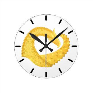Yellow heart dragon on white round clock